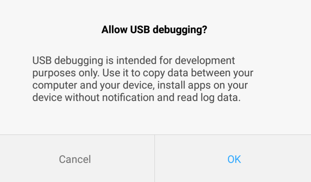 allow USB Debugging Mode
